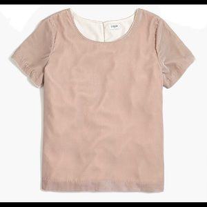 J. Crew Velvet T Shirt Blush Pink Short Sleeve S 6